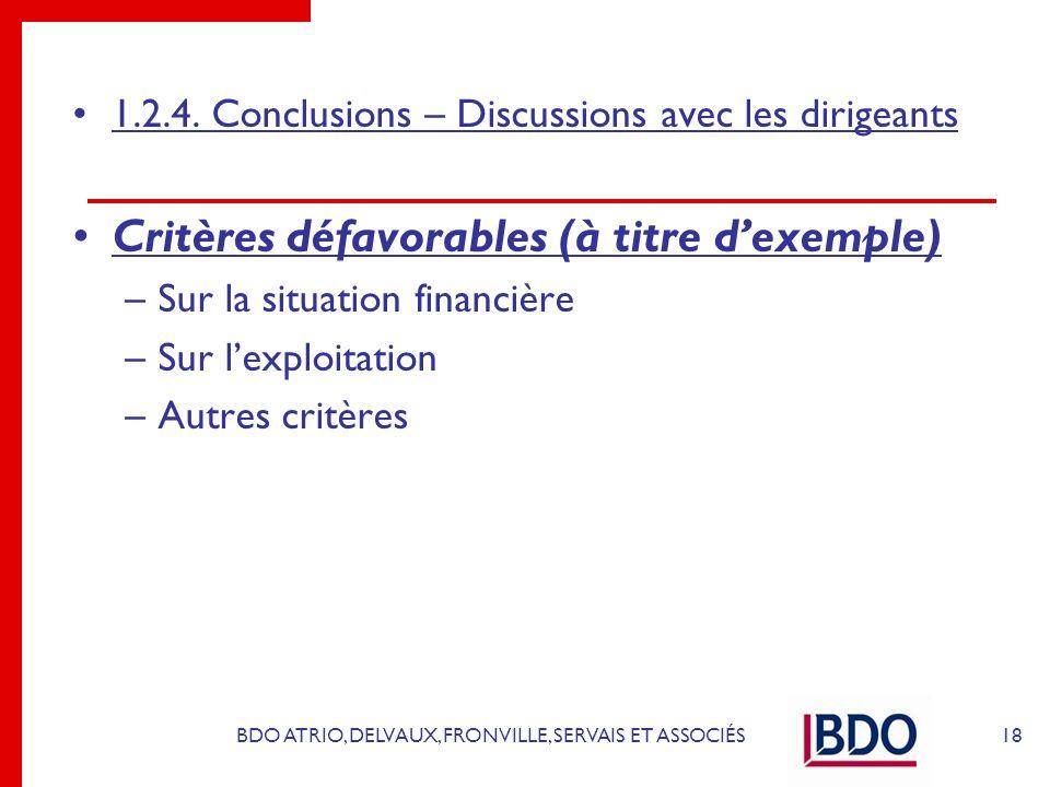 BDO ATRIO, DELVAUX, FRONVILLE, SERVAIS ET ASSOCIÉS 1.2.4. Conclusions – Discussions avec les dirigeants Critères défavorables (à titre dexemple) –Sur