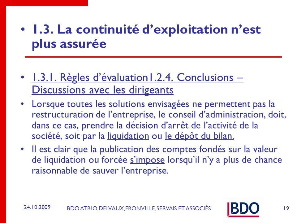 BDO ATRIO, DELVAUX, FRONVILLE, SERVAIS ET ASSOCIÉS 1.3. La continuité dexploitation nest plus assurée 1.3.1. Règles dévaluation1.2.4. Conclusions – Di