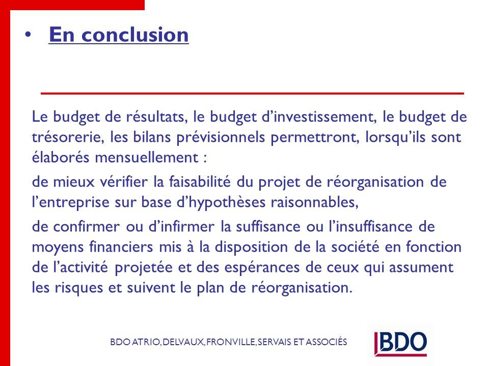 BDO ATRIO, DELVAUX, FRONVILLE, SERVAIS ET ASSOCIÉS En conclusion Le budget de résultats, le budget dinvestissement, le budget de trésorerie, les bilan