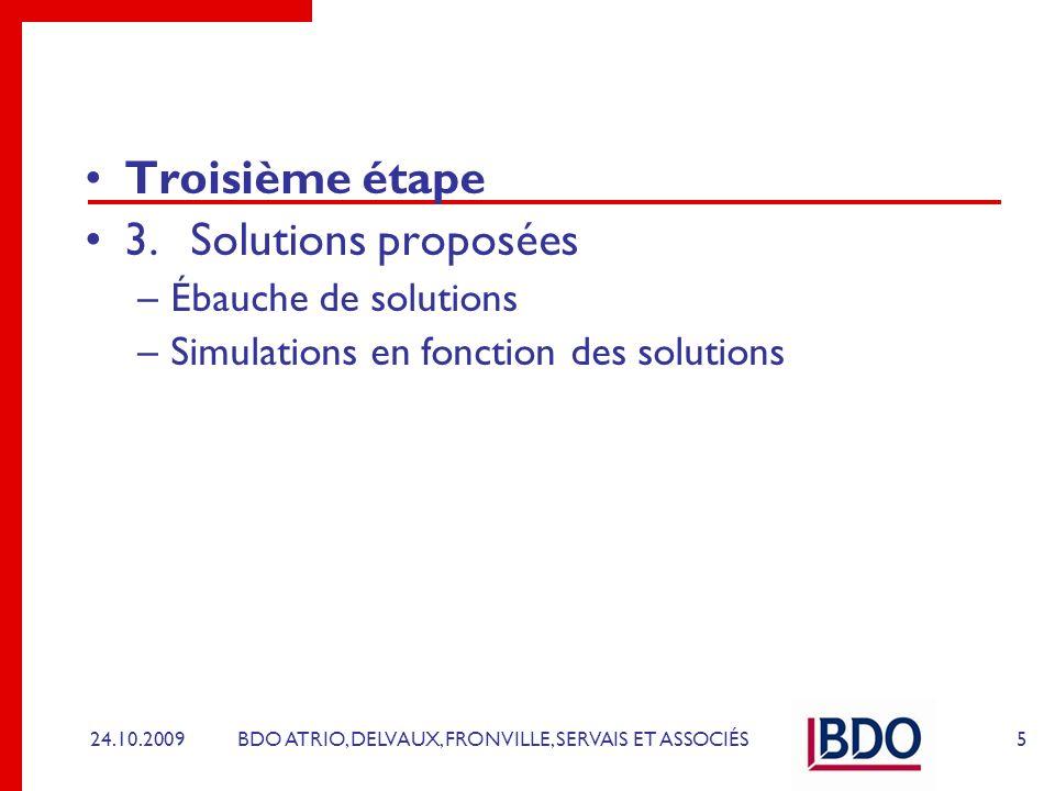BDO ATRIO, DELVAUX, FRONVILLE, SERVAIS ET ASSOCIÉS Troisième étape 3.Solutions proposées –Ébauche de solutions –Simulations en fonction des solutions