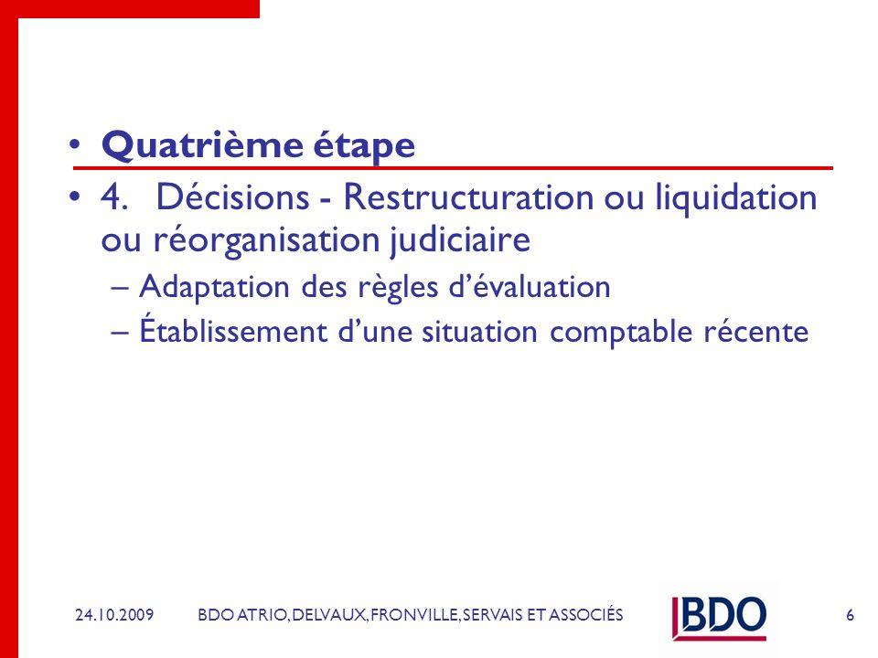 BDO ATRIO, DELVAUX, FRONVILLE, SERVAIS ET ASSOCIÉS Quatrième étape 4.Décisions - Restructuration ou liquidation ou réorganisation judiciaire –Adaptati