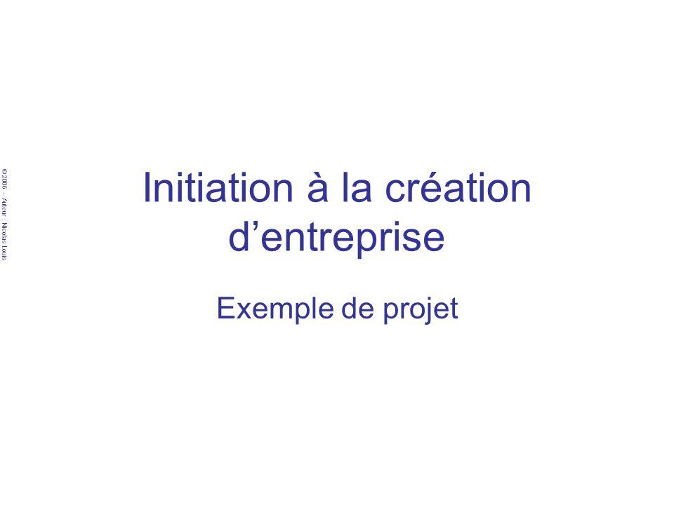 © 2006 – Auteur : Nicolas Louis Exemple de projet Plan –LIdée –Les composants du projet –Son marché –Lactivité –Lanalyse des contraintes –La vérification du réalisme du projet