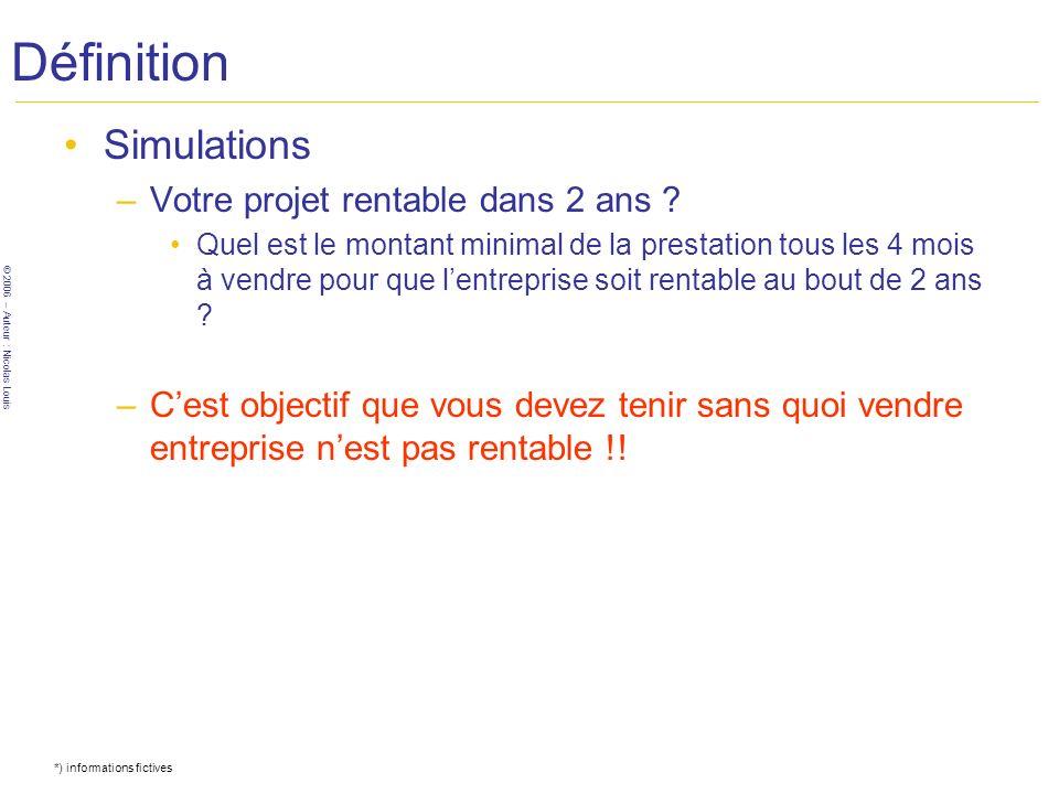 © 2006 – Auteur : Nicolas Louis Définition Simulations –Votre projet rentable dans 2 ans ? Quel est le montant minimal de la prestation tous les 4 moi