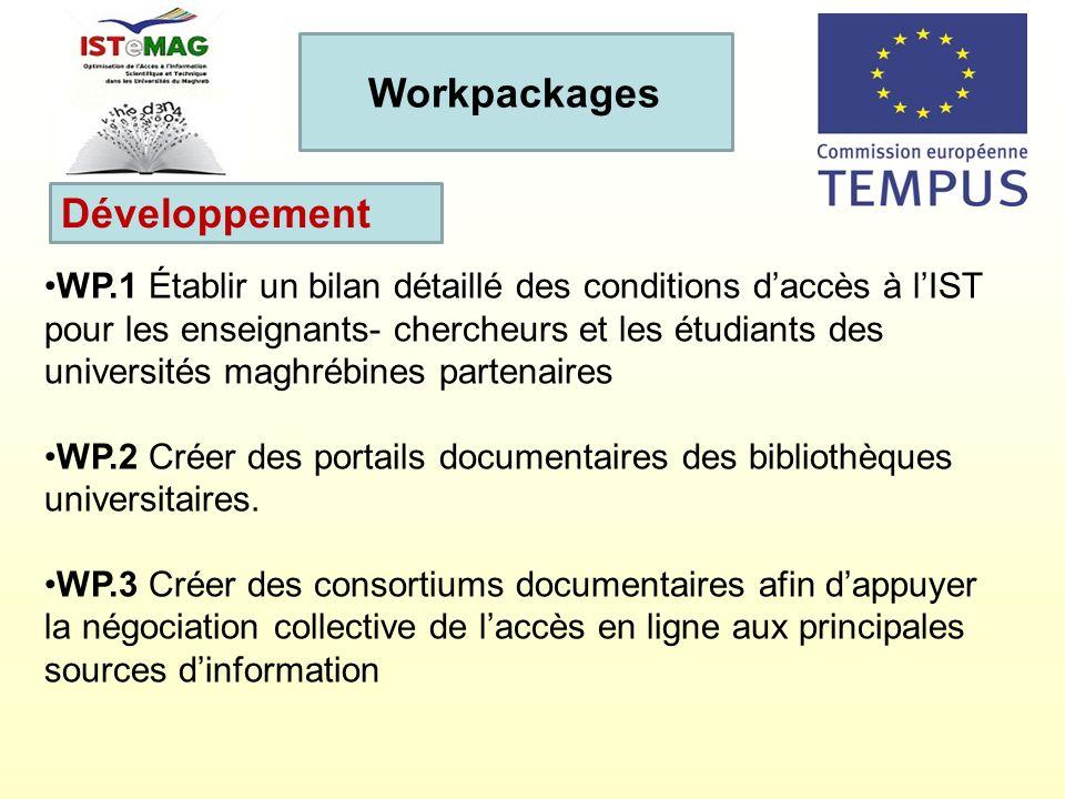 WP.1 Établir un bilan détaillé des conditions daccès à lIST pour les enseignants- chercheurs et les étudiants des universités maghrébines partenaires
