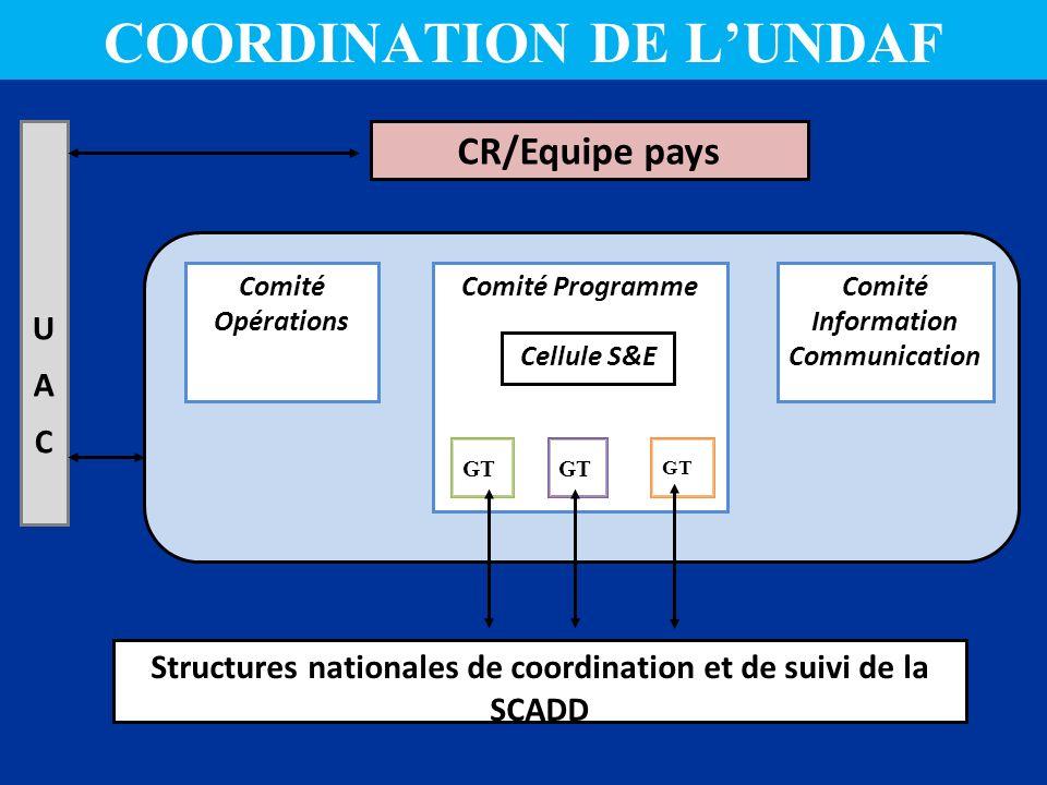 CR/Equipe pays Structures nationales de coordination et de suivi de la SCADD Comité Opérations Comité ProgrammeComité Information Communication UACUAC GT Cellule S&E COORDINATION DE LUNDAF