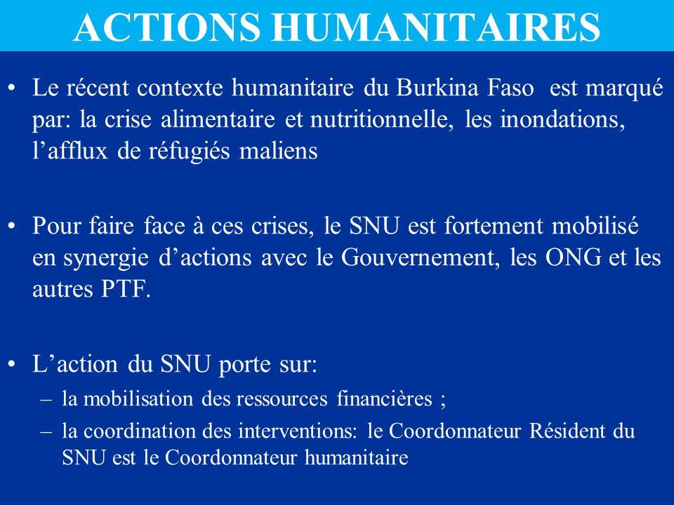 ACTIONS HUMANITAIRES Le récent contexte humanitaire du Burkina Faso est marqué par: la crise alimentaire et nutritionnelle, les inondations, lafflux de réfugiés maliens Pour faire face à ces crises, le SNU est fortement mobilisé en synergie dactions avec le Gouvernement, les ONG et les autres PTF.