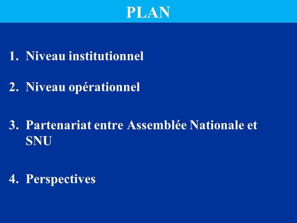 PLAN 1.Niveau institutionnel 2.Niveau opérationnel 3.Partenariat entre Assemblée Nationale et SNU 4.Perspectives