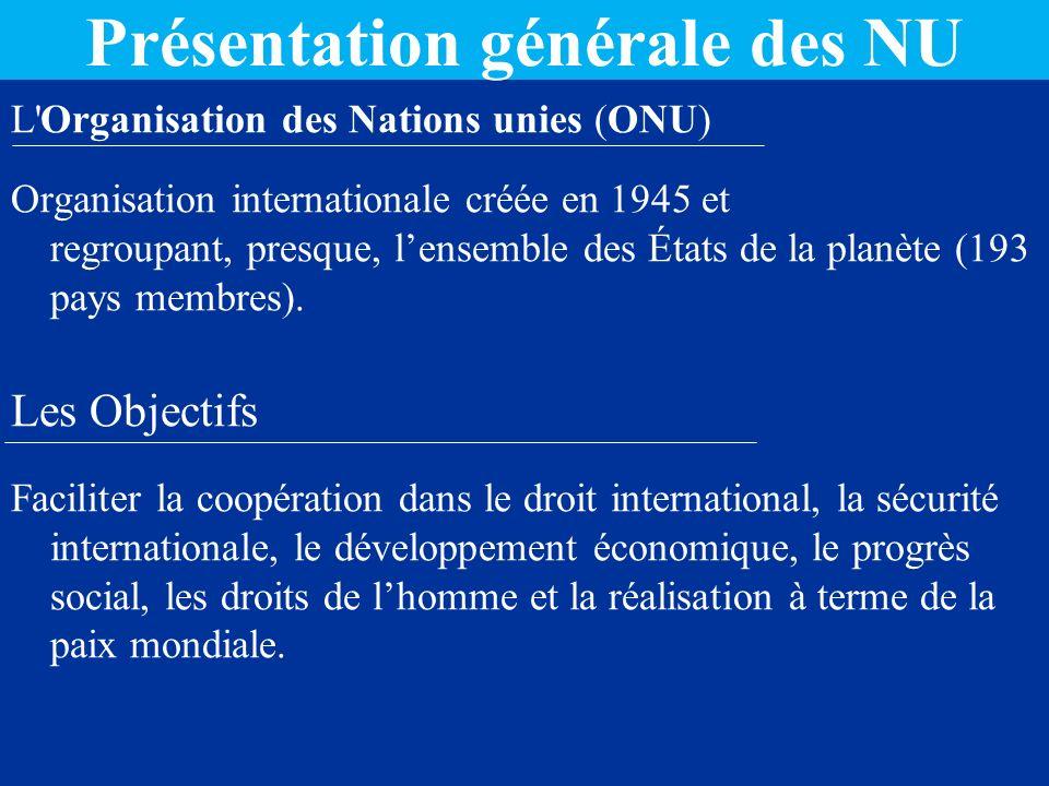 Présentation générale des NU L Organisation des Nations unies (ONU) Organisation internationale créée en 1945 et regroupant, presque, lensemble des États de la planète (193 pays membres).