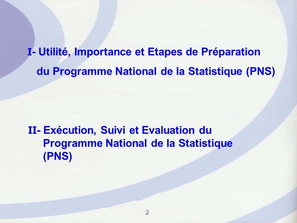 I - Utilité, Importance et Etapes de Préparation du Programme National de la Statistique (PNS) I- 5.
