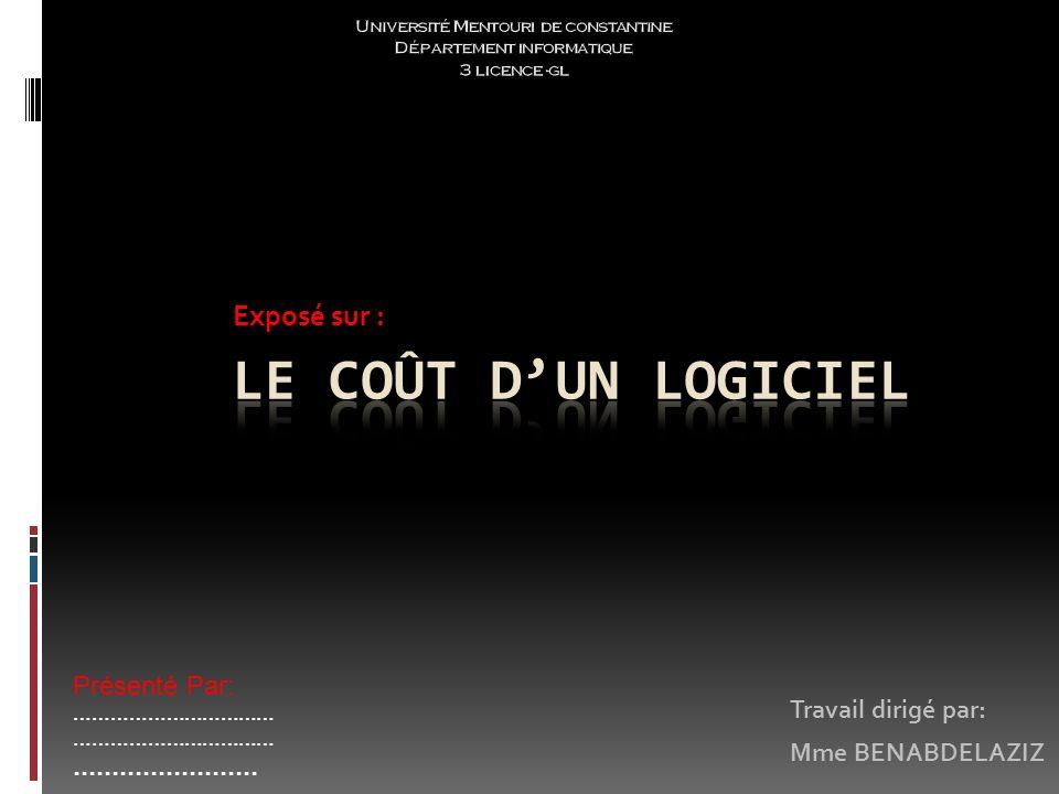Plan: Introduction Les méthodes COCOMOs: COCOMO 81: COCOMO II : Conclusion: Quest-ce quun coût.