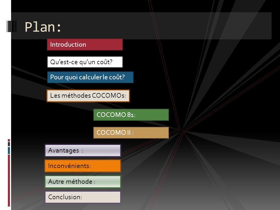 3/ Modèle Expert : Le modèle expert inclue toutes les caractéristiques du modèle intermédiaire avec une estimation de l impact de la conduite des coûts sur chaque étape du cycle de développement: définition initiale du produit, définition détaillée, codage, intégration.