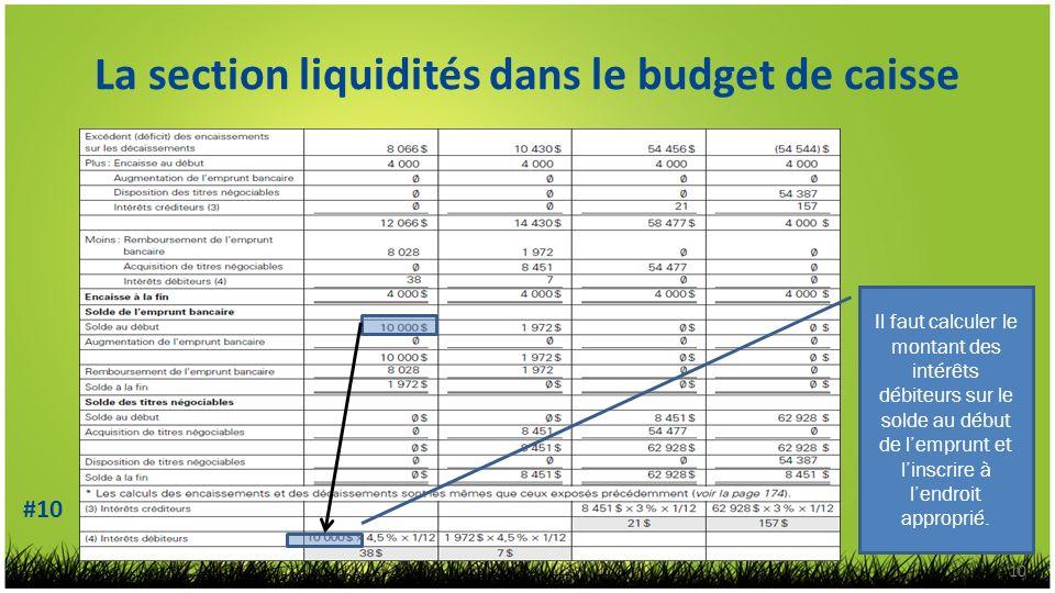 La section liquidités dans le budget de caisse 10 Il faut calculer le montant des intérêts débiteurs sur le solde au début de lemprunt et linscrire à lendroit approprié.