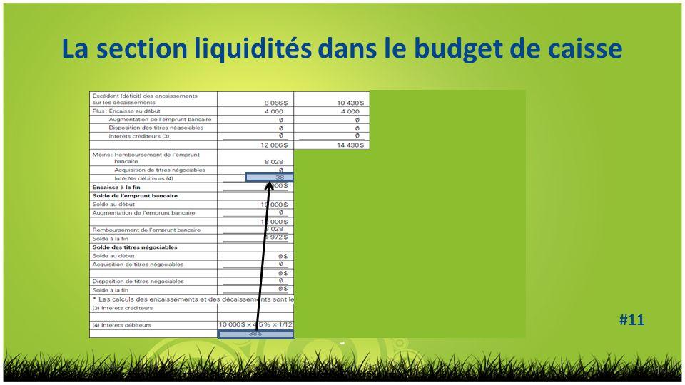 La section liquidités dans le budget de caisse 11 Prévisions, contrôle budgétaire et mesure de la performance, 2 e éd. © 2010 Chenelière Éducation inc