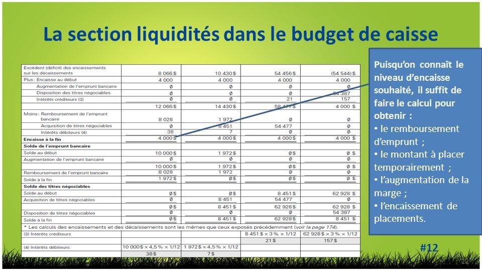 La section liquidités dans le budget de caisse 12 Puisquon connaît le niveau dencaisse souhaité, il suffit de faire le calcul pour obtenir : le remboursement demprunt ; le montant à placer temporairement ; laugmentation de la marge ; lencaissement de placements.