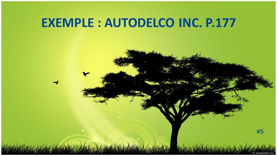 EXEMPLE : AUTODELCO INC. P.177 #5