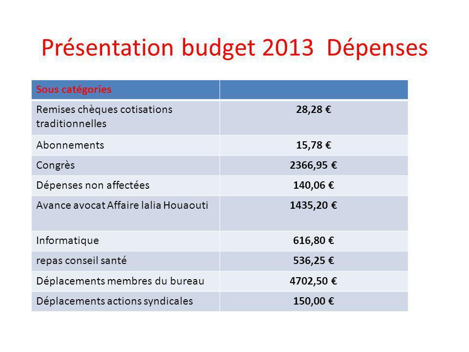 Présentation budget 2013 Dépenses Sous catégories Remises chèques cotisations traditionnelles 28,28 Abonnements15,78 Congrès2366,95 Dépenses non affec