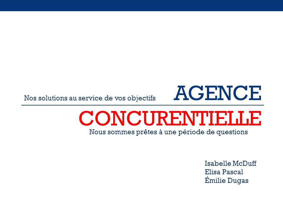 AGENCE CONCURENTIELLE Nous sommes prêtes à une période de questions Isabelle McDuff Elisa Pascal Émilie Dugas Nos solutions au service de vos objectif