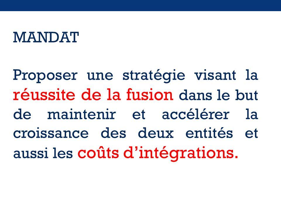 MANDAT Proposer une stratégie visant la réussite de la fusion dans le but de maintenir et accélérer la croissance des deux entités et aussi les coûts