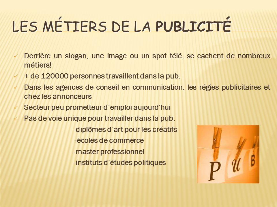 LES MÉTIERS DE LA PUBLICITÉ Derrière un slogan, une image ou un spot télé, se cachent de nombreux métiers! + de 120000 personnes travaillent dans la p