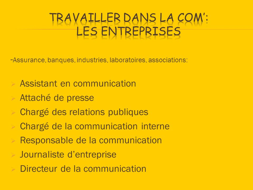 - Assurance, banques, industries, laboratoires, associations: Assistant en communication Attaché de presse Chargé des relations publiques Chargé de la communication interne Responsable de la communication Journaliste dentreprise Directeur de la communication