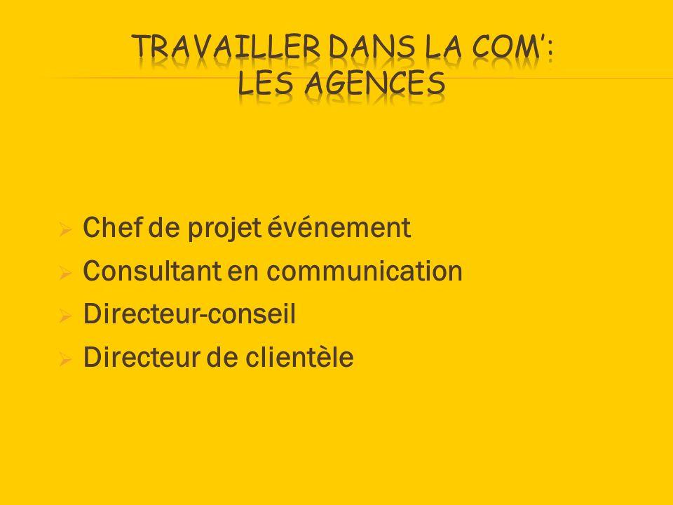 Chef de projet événement Consultant en communication Directeur-conseil Directeur de clientèle