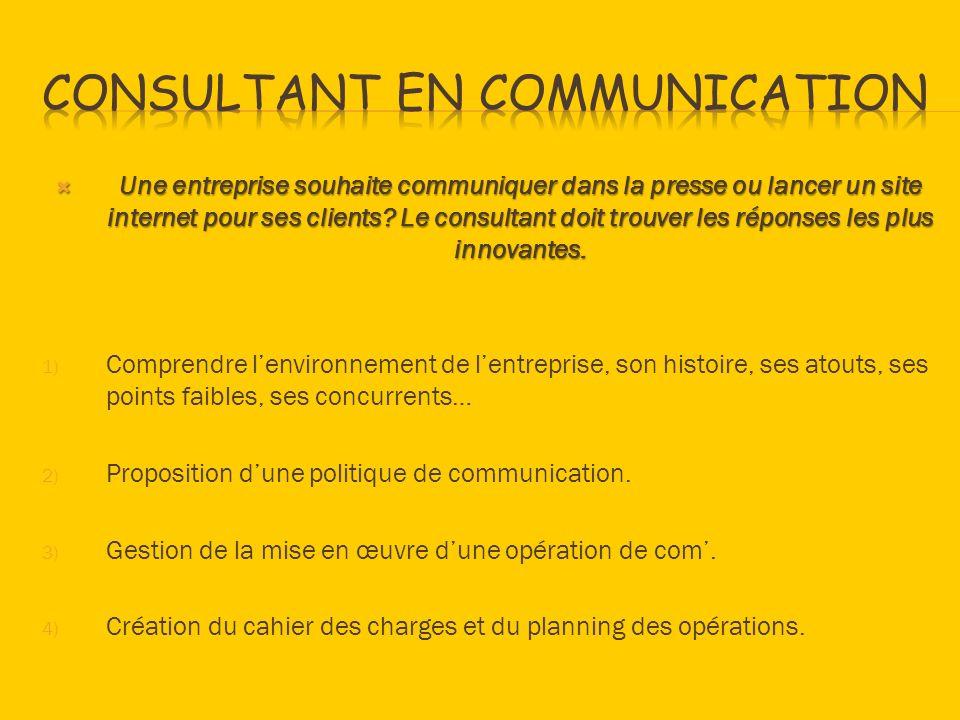 Une entreprise souhaite communiquer dans la presse ou lancer un site internet pour ses clients? Le consultant doit trouver les réponses les plus innov