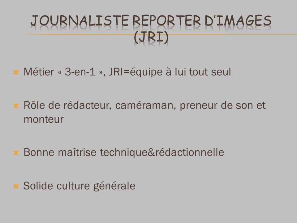 Métier « 3-en-1 », JRI=équipe à lui tout seul Rôle de rédacteur, caméraman, preneur de son et monteur Bonne maîtrise technique&rédactionnelle Solide c