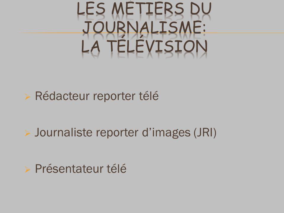 Rédacteur reporter télé Journaliste reporter dimages (JRI) Présentateur télé