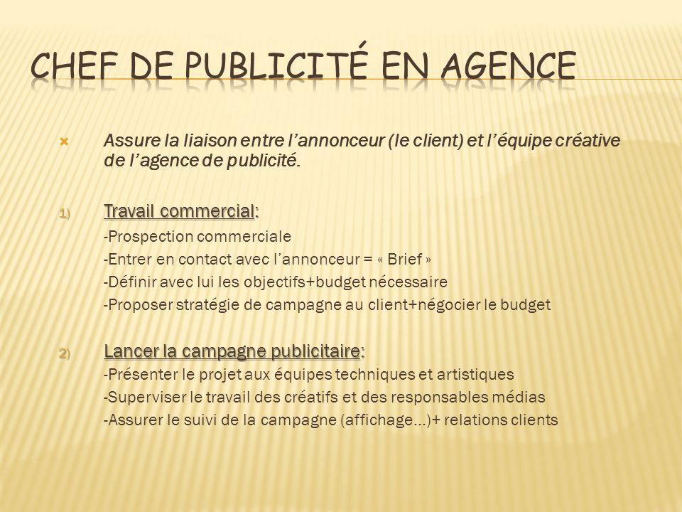 Assure la liaison entre lannonceur (le client) et léquipe créative de lagence de publicité. 1) Travail commercial: -Prospection commerciale -Entrer en