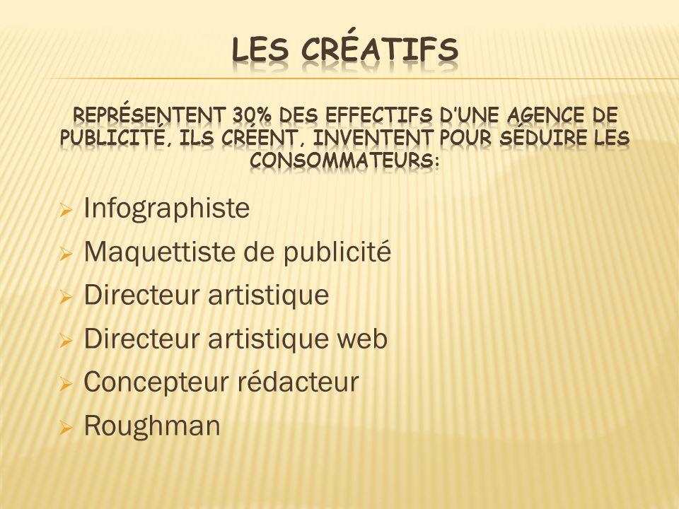 Infographiste Maquettiste de publicité Directeur artistique Directeur artistique web Concepteur rédacteur Roughman