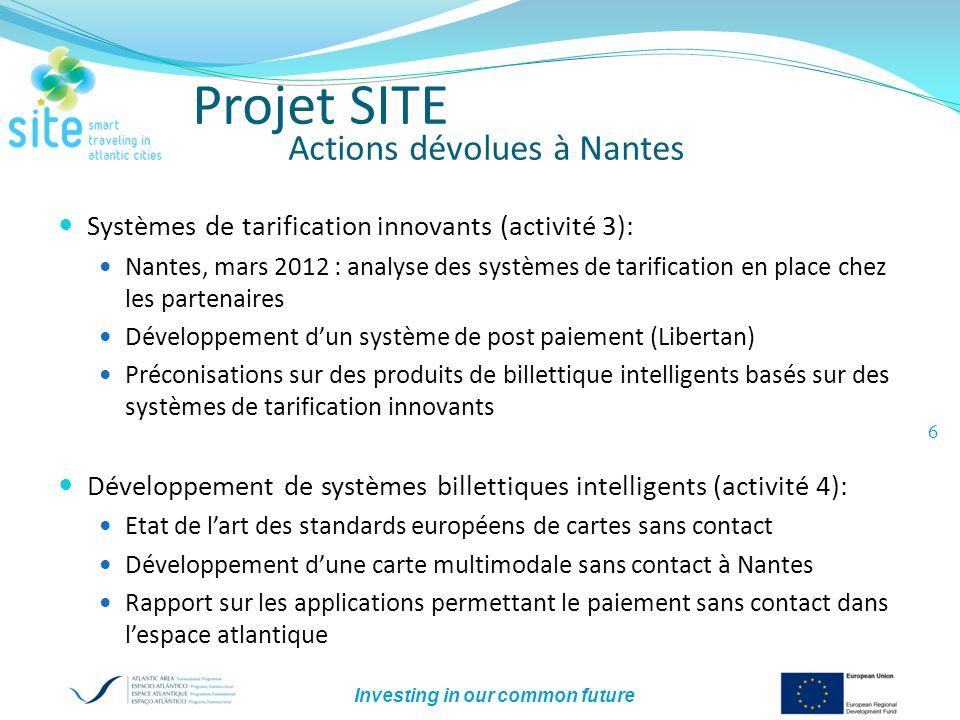 Investing in our common future 6 Projet SITE Actions dévolues à Nantes Systèmes de tarification innovants (activité 3): Nantes, mars 2012 : analyse de