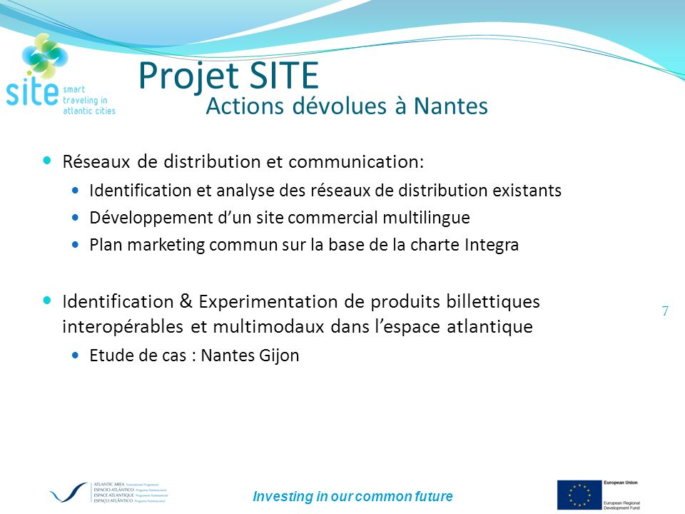 Investing in our common future 8 Projet SITE Budget