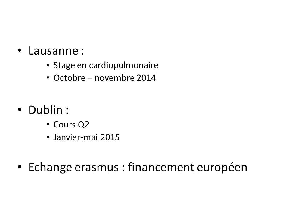 Lausanne : Stage en cardiopulmonaire Octobre – novembre 2014 Dublin : Cours Q2 Janvier-mai 2015 Echange erasmus : financement européen