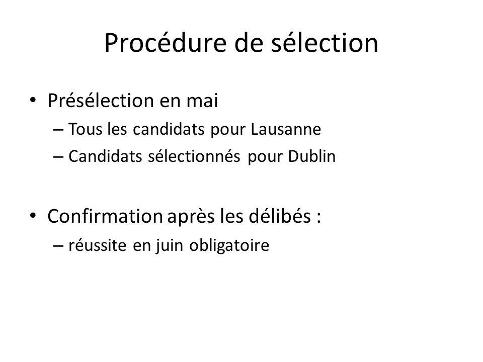 Procédure de sélection Présélection en mai – Tous les candidats pour Lausanne – Candidats sélectionnés pour Dublin Confirmation après les délibés : – réussite en juin obligatoire