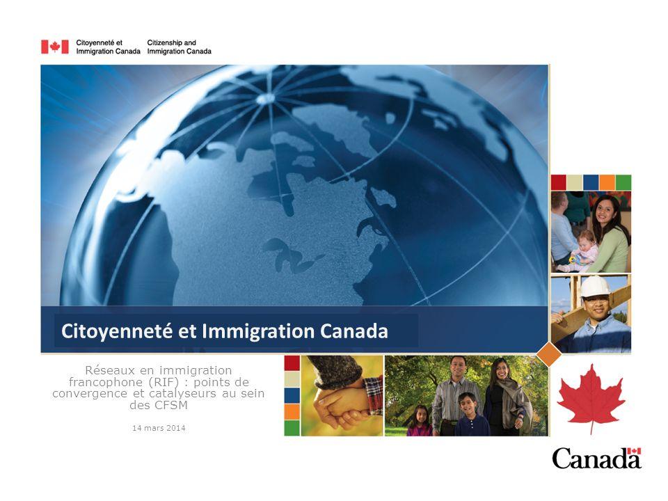 Réseaux en immigration francophone (RIF) : points de convergence et catalyseurs au sein des CFSM 14 mars 2014 Citoyenneté et Immigration Canada