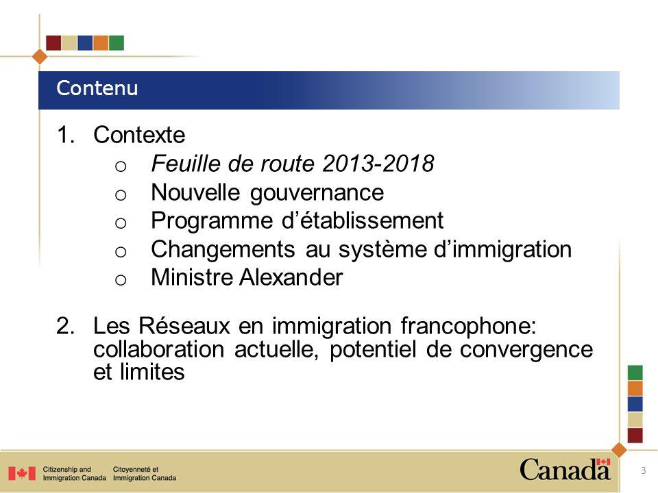 1.Contexte o Feuille de route 2013-2018 o Nouvelle gouvernance o Programme détablissement o Changements au système dimmigration o Ministre Alexander 2