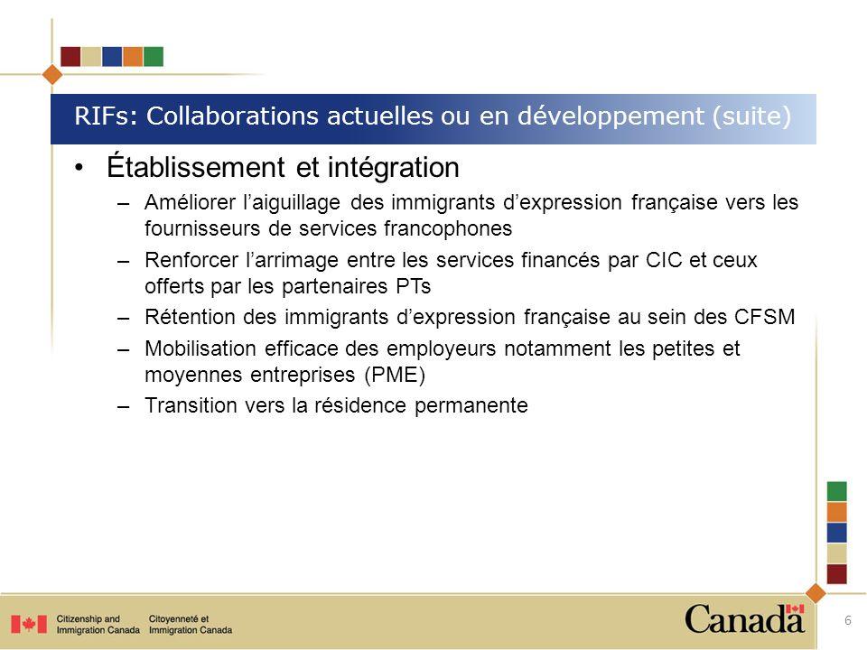 Établissement et intégration –Améliorer laiguillage des immigrants dexpression française vers les fournisseurs de services francophones –Renforcer lar