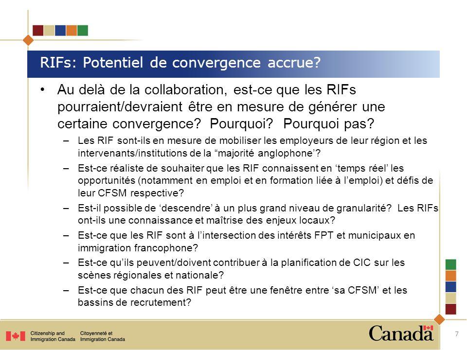 Au delà de la collaboration, est-ce que les RIFs pourraient/devraient être en mesure de générer une certaine convergence? Pourquoi? Pourquoi pas? –Les