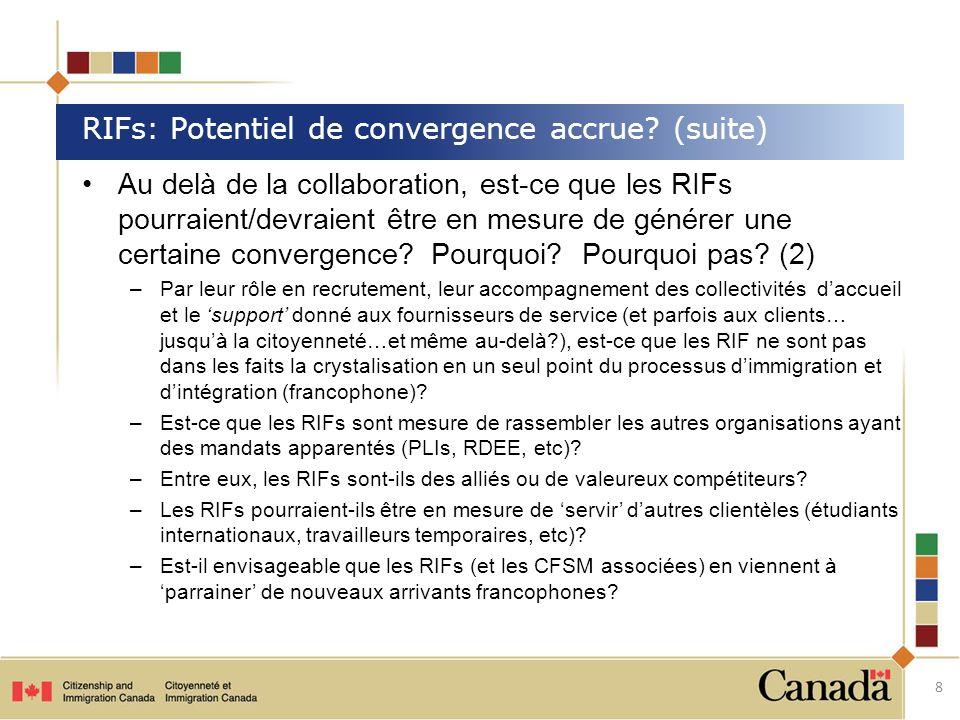 Au delà de la collaboration, est-ce que les RIFs pourraient/devraient être en mesure de générer une certaine convergence? Pourquoi? Pourquoi pas? (2)