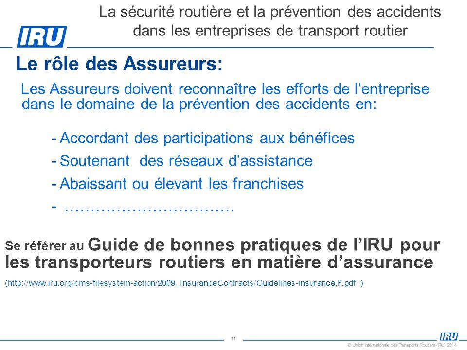 11 Le rôle des Assureurs: Les Assureurs doivent reconnaître les efforts de lentreprise dans le domaine de la prévention des accidents en: -Accordant d