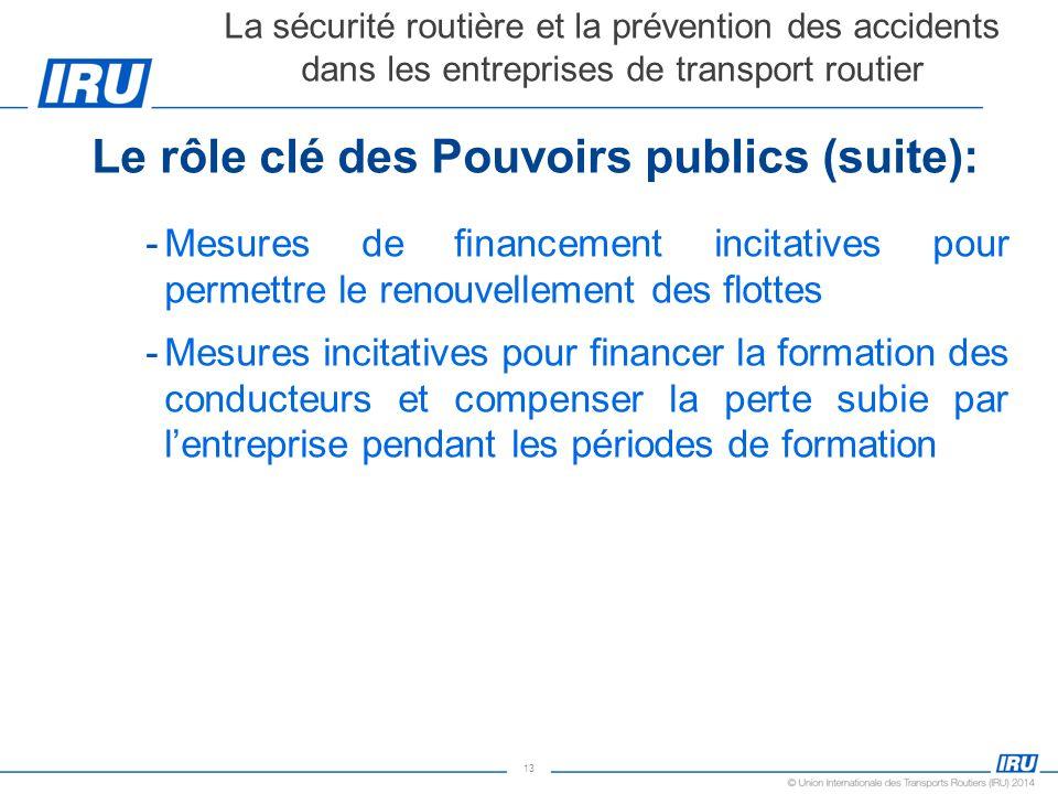 13 Le rôle clé des Pouvoirs publics (suite): -Mesures de financement incitatives pour permettre le renouvellement des flottes -Mesures incitatives pou