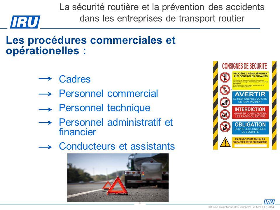 8 Les procédures commerciales et opérationelles : Cadres Personnel commercial Personnel technique Personnel administratif et financier Conducteurs et