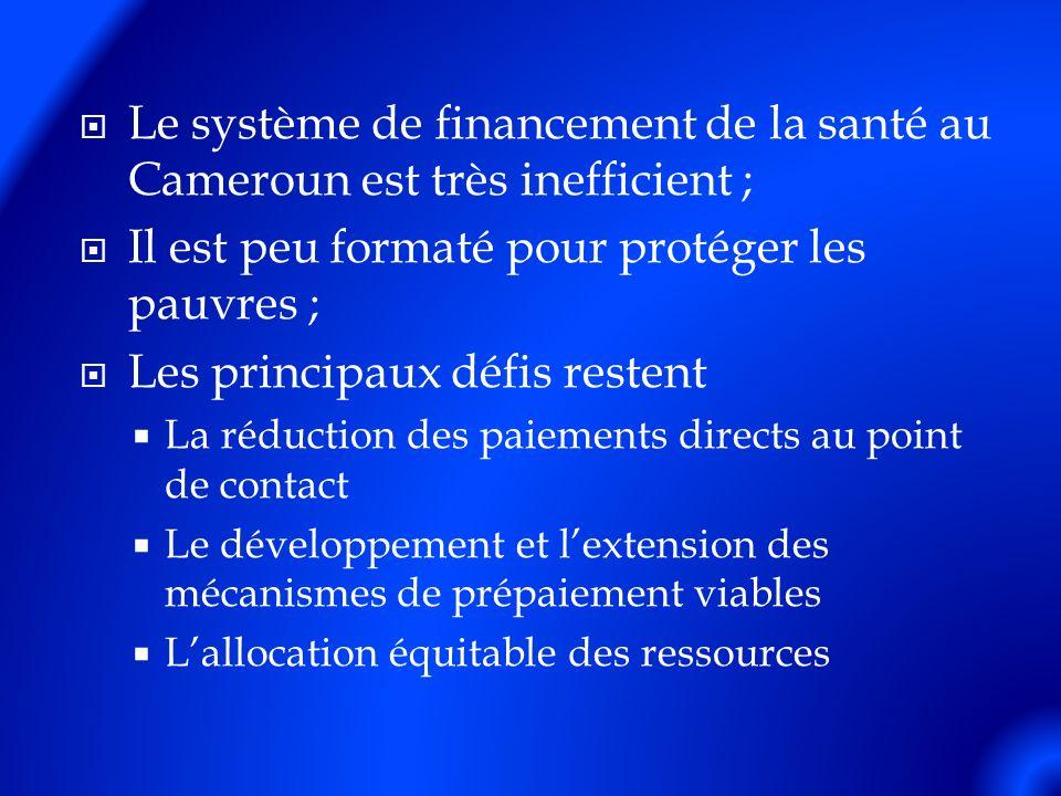 Le système de financement de la santé au Cameroun est très inefficient ; Il est peu formaté pour protéger les pauvres ; Les principaux défis restent La réduction des paiements directs au point de contact Le développement et lextension des mécanismes de prépaiement viables Lallocation équitable des ressources