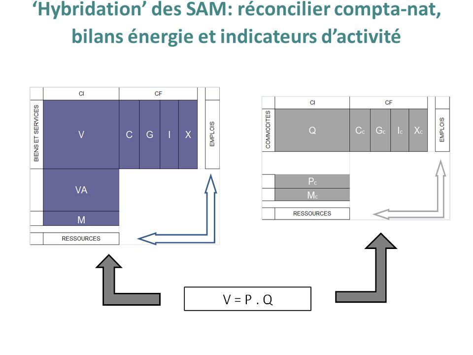 Hybridation des SAM: réconcilier compta-nat, bilans énergie et indicateurs dactivité
