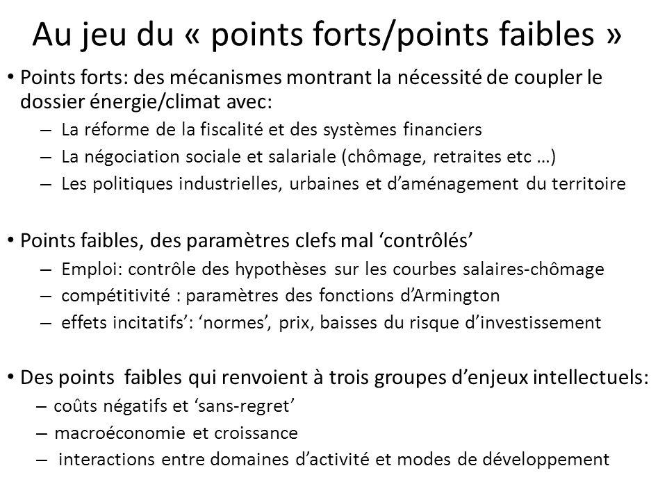 Au jeu du « points forts/points faibles » Points forts: des mécanismes montrant la nécessité de coupler le dossier énergie/climat avec: – La réforme d