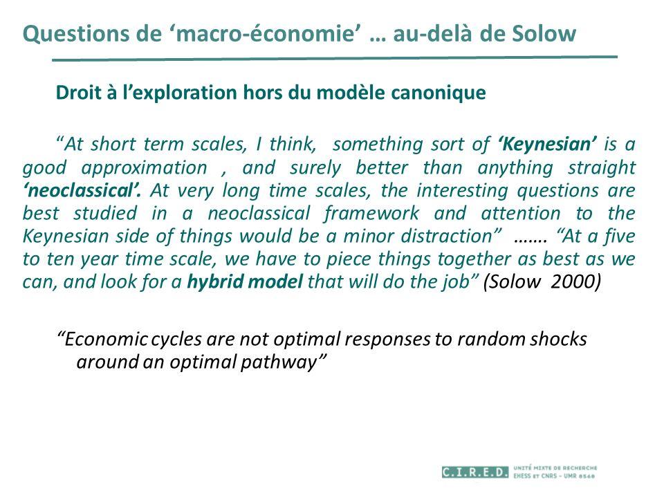 Questions de macro-économie … au-delà de Solow Droit à lexploration hors du modèle canonique At short term scales, I think, something sort of Keynesia