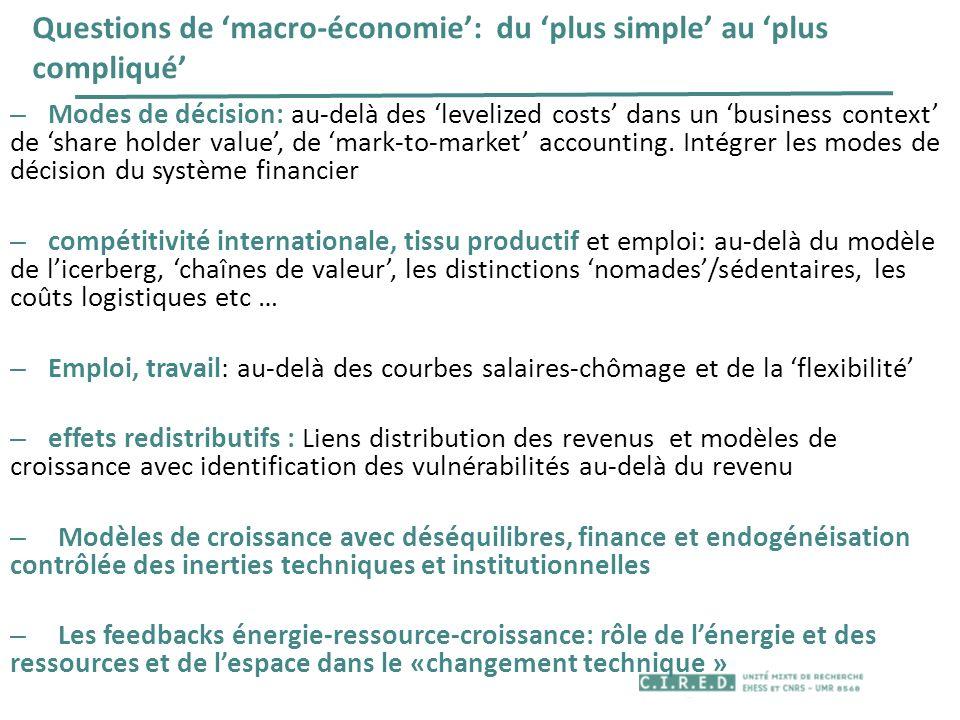 Questions de macro-économie: du plus simple au plus compliqué – Modes de décision: au-delà des levelized costs dans un business context de share holde