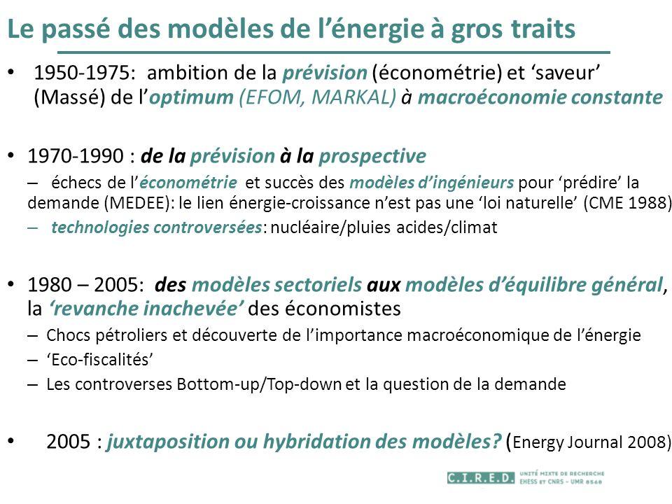 Le passé des modèles de lénergie à gros traits 1950-1975: ambition de la prévision (économétrie) et saveur (Massé) de loptimum (EFOM, MARKAL) à macroé