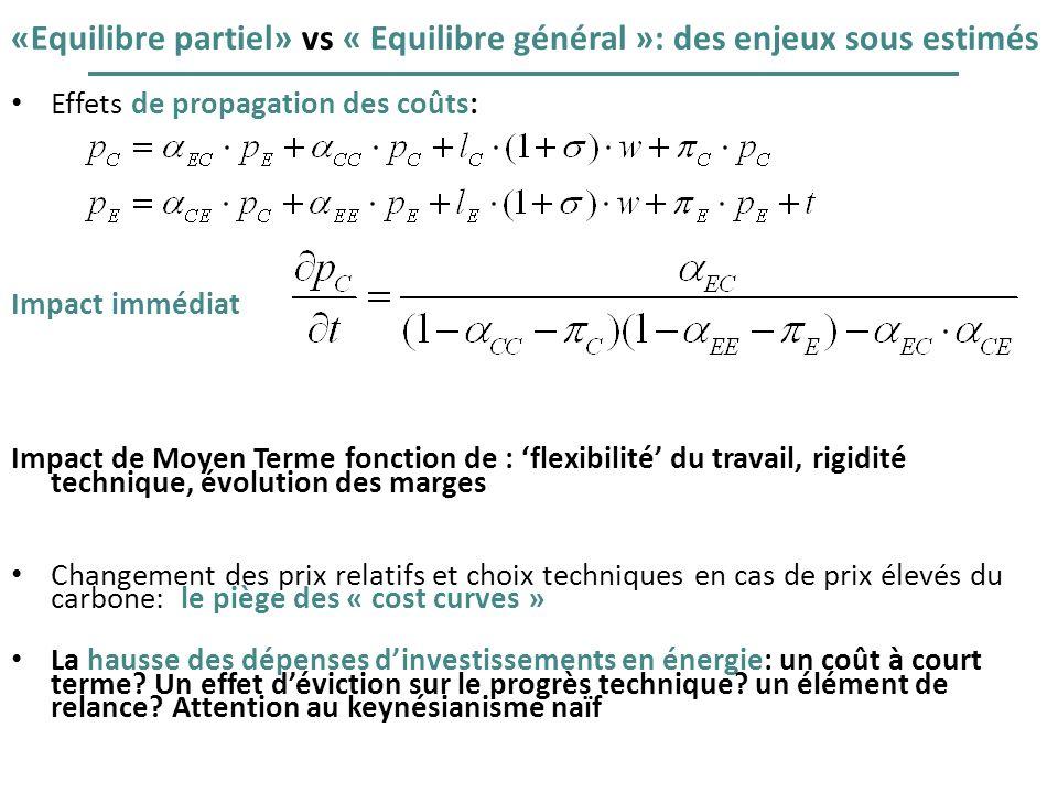 «Equilibre partiel» vs « Equilibre général »: des enjeux sous estimés Effets de propagation des coûts: Impact immédiat Impact de Moyen Terme fonction
