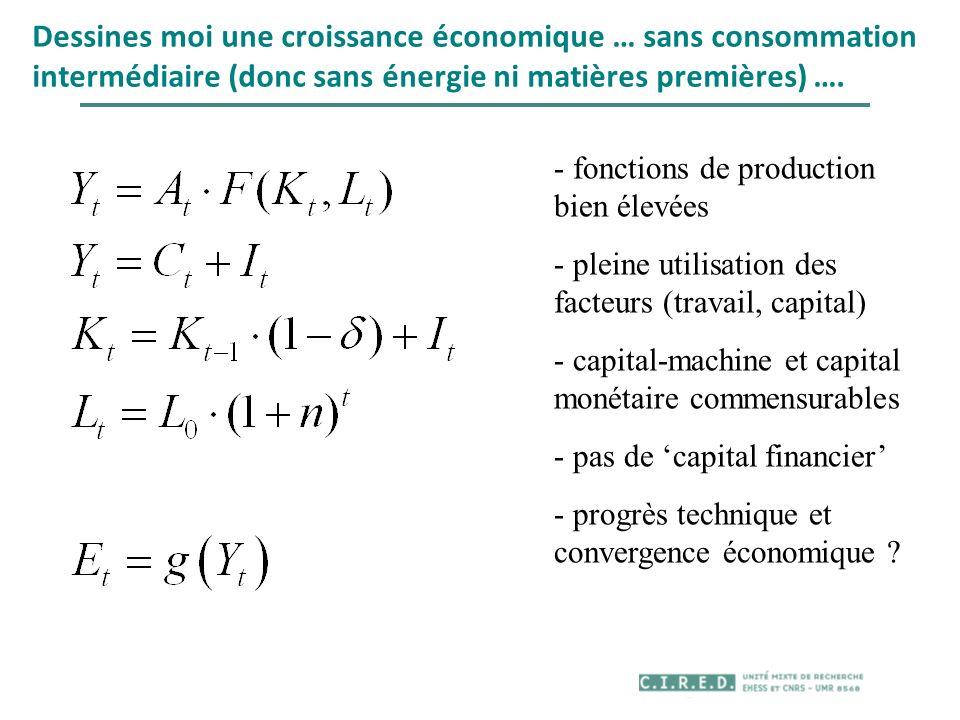 Dessines moi une croissance économique … sans consommation intermédiaire (donc sans énergie ni matières premières) …. - fonctions de production bien é